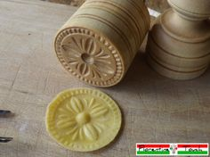 """CORZETTI PASTA Stamp = 1 Handle + 1""""Renaissance Genoese Cross"""" Stamp handturned, handcarved, in Maple Chiantishire, only my hands & gouges"""