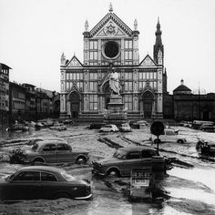 Italian Photographer: View of the Piazza Santa Croce after the flood of Florence 4th November 1966, Museo di Storia della Fotografia Fratelli Alinari.  Florence in War and Flood