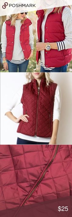 Puffer vest maroon red quilted outerwear jacket Pic 1 style inspiration via Pinterest. Other pics are actual item wearinla Jackets & Coats Vests