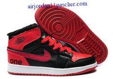 new style 7c195 71239 Air Jordan 1 Fluff Noir Blanc Rouge For Winter Chaussures Cheap Jordans,  Cheap Nike,