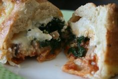 Meal-in-a-muffin; a muffin shaped calzone! (pizza)