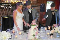 Even the wedding cake was draped in pearls for Chad and Megan's vintage wedding. http://www.discjockey.org