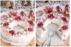 This holiday cranberry and pomegranate pavlova with marshmallowy inside topped with marbled mascarpone cream and berries is a festive paradise in your mouth Delicious Desserts, Dessert Recipes, Yummy Food, Ana Pavlova, Pomegranate Dessert, Pomegranate Recipes, Danish Butter Cookies, Sugared Cranberries, Cream Cheese Eggs