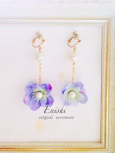 New color pink ♡ × 30,000 Hydrangea and pearl earrings or earrings