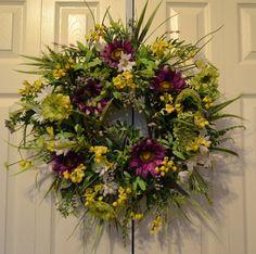 Summer Daisy Wreath-Outdoor Garden Wreath-Spring/Everyday Wreath-Summer Wreath-Wildflower Wreath-Daisy Wreath-Door Wreath-Spring Garden
