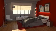The red bedroom - 3D Architectural Visualization inspired by Benyat. - Autodesk 3ds Max 2015 - Chaos Group V-Ray 3.0 - Marvelous Designer 4 - Adobe Photoshop CC 2015