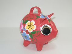 Paper Mache Pig Piggy Bank  Hand Painted Mod Red by ModandMore, $17.95