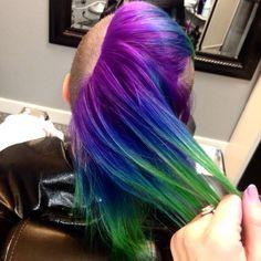 Purple blue green peacock ombré on a Mohawk! Pravana hair