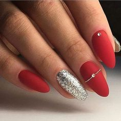 Christmas nails 🎄 🎅 🏻 red acrylic nails, red gel nails, gel manicure, al Red Nail Art, Red Acrylic Nails, Pink Nails, Red And Silver Nails, Red Matte Nails, Glitter Nails, Red Manicure, Acrylic Art, Silver Hair