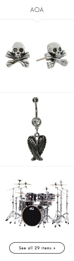 """""""AOA"""" by ilovegeeway-emo ❤ liked on Polyvore featuring jewelry, earrings, accessories, king baby studio, silver earrings, skull jewellery, silver jewelry, earring jewelry, piercings and belly rings"""