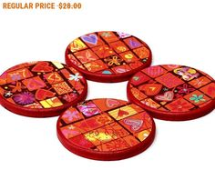 SALE Decoupage drink coaster set of 4 red hearts and flowers home decor Holiday gift Hostess gift (CR054) by StudioDhomeDecor