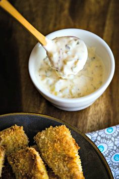 Crispy Oven-Fried Fish with Dijon Tartar Sauce, This healthy oven baked fish recipe calls for a one-two-three dredging process which results in a nice crunchy coating without deep frying and without the added calories! Fish Recipes Trout, Snapper Recipes, Asian Fish Recipes, Pollock Fish Recipes, Recipes With Fish Sauce, Whole30 Fish Recipes, White Fish Recipes, Fried Fish Recipes, Easy Fish Recipes