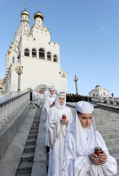 Tragic anniversary  Belarus women take part in a religious ceremony in memory of the victims of last year subway blast to mark the first anniversary of the tragedy in Minsk.