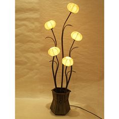 Paper Floor Lamp Shades with Flowerpot Design and Five Windflower Buds