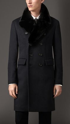 Virgin Wool Overcoat with Rabbit Topcollar | Burberry | $2795 | Navy | 39484191 | AWESOME