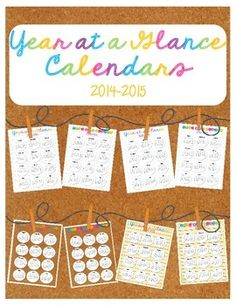 FREE Year at a Glance Calendars 2014-2015