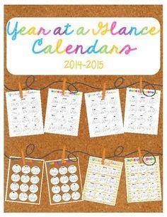 FREE Year at a Glance Calendars 2014-2015