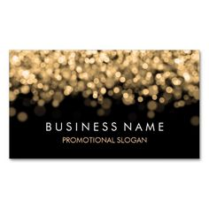 Simple Sparkle Gold Lights Double-Sided Standard Business Cards (Pack Of Custom Business Cards, Professional Business Cards, Business Card Design, Photographer Business Cards, Photography Business, Visiting Card Design, Black Card, Gold Light, Name Cards