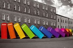 Phone booth falling poster London black and white color splash cultural Red Color Splash, Color Pop, Urban Landscape, Landscape Photos, Rainbow Quote, Telephone Booth, Rainbow Connection, London Art, London Poster