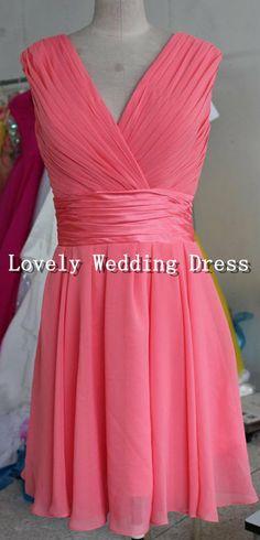 Coral Strap Sleeveless V-neck Empire Ruffles Short Chiffon Dress Bridesmaid Dress Homecoming Dress Prom Dress Evening Dress Party Dress