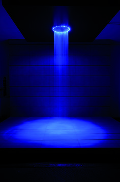 Colour therapy in your home - Rio Blue reflect circular 240mm LED Shower Head from Crosswater. http://www.crosswater.co.uk/product/showering-led-shower-heads/rio-blue-reflect-circular-240mm-fixed-head/