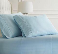 4 Pcs Sheet Set Or Bed Skirt Egyptian Cotton Drop 8 To 20 Inch Light Blue Stripe
