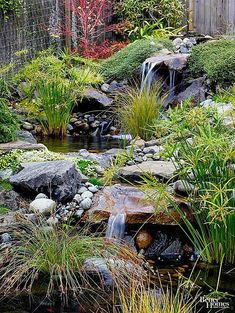 18 Essential Elements of Authentic Japanese Garden Design The sound of moving water from waterfalls adds to the soothing nature of Japanese gardens. This stream is punctuated by two waterfalls and ponds. Papyrus, ornamental grasses, and groundcovers bring