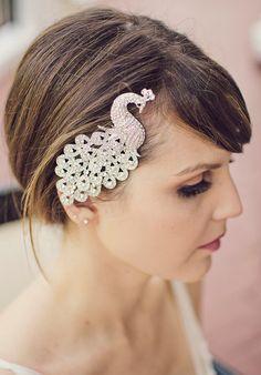 Silver Crystal Peacock Bridal Haircomb