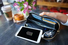 Convenient charger billfold! Holds all your important stuff while charging your phone!