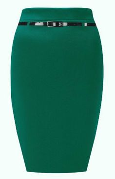Ladies Belted Midi Pencil Skirt -