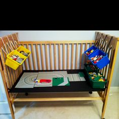 My version of the crib makeover- Lego Table! I saw an Art Table too - love this idea since drop-sided cribs can't be donated or sold - great way to use it!