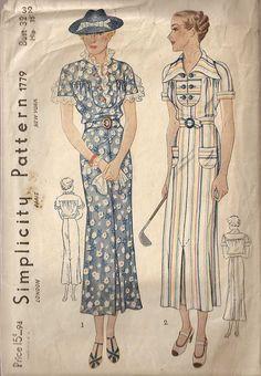 1930s Simplicity 1779 Dress Pattern
