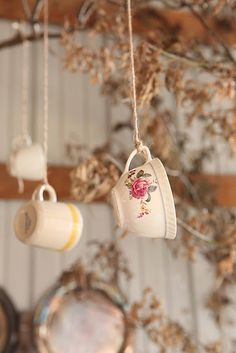 hanging tea cups for tea party decorations, hang off of centerpiece of sturdy blooming branches. Decoration Evenementielle, Pretty Room, Mad Hatter Tea, Mad Hatters, Shops, My Cup Of Tea, Noel Christmas, Vintage Tea, Vintage Cups