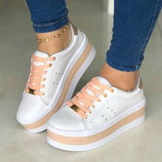 For my daughter, pink and white tennis shoes, Vans❤️ - 2019 Platform Tennis Shoes, White Tennis Shoes, White Nike Shoes, White Sneakers, Trendy Shoes, Casual Shoes, Fashion Boots, Sneakers Fashion, Korean Shoes