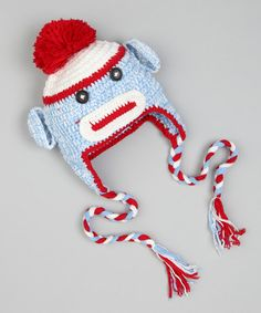 Take a look at this Blue & Red Blue Sock Monkey Earflap Beanie by Crossroad on #zulily today!