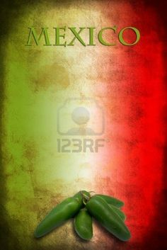 Tipycal Mexican food: green jalapeno on Mexico flag Stock Photo - 15866343