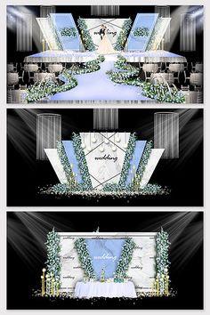High-end luxury light blue wedding renderings