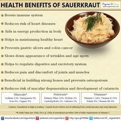 Some of the health benefits of sauerkraut include its ability to increase your digestive health, boost your circulation, protect your heart health, provide you with quick energy, stimulate your immune system, strengthen your bones, reduce your overall cholesterol levels, eliminate inflammation, protect against certain cancer, and even improve your vision and skin health.