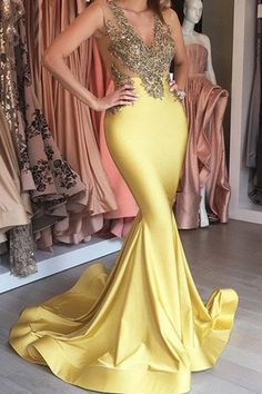 Yellow satins gold lace applique V-neck see-through slim-line long dress,mermaid Evening dresses
