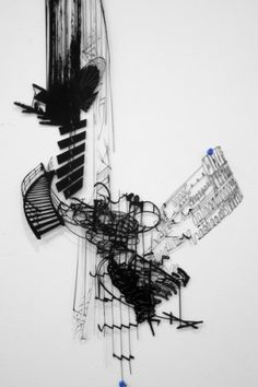 Intrigue in installation art...Sarah Sze's Infinite Line: OCD gone shadow play, photos and perception...fascinating!
