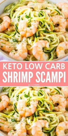 keto shrimp scampi made with zucchini noodles or you could use spaghetti squash it s a quick and easy low carb recipe that s an easy lunch or dinner option gluten free recipe Lunch Recipes, Salmon Recipes, Diet Recipes, Healthy Recipes, Shrimp Dinner Recipes, No Carb Dinner Recipes, Gluten Free Zucchini Recipes, Low Carb Zucchini Recipes, Recipe Zucchini