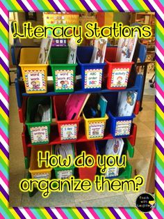 How do you organize literacy stations for student access? Let's talk about it! Labels for literacy stations Daily 5 Kindergarten, Kindergarten Literacy Stations, Literacy Activities, Word Work Activities, Kindergarten Graduation, Classroom Organisation, Teacher Organization, Classroom Management, Kindergarten Center Organization