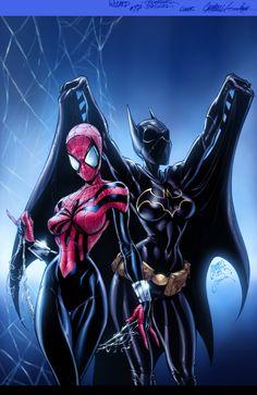 Batgirl & Spider-Girl artwork by J. Scott Campbell inks by Alex Garner colors Vic55b.