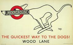 Vintage greyhound London Underground poster