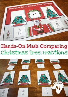 Free Hands-On Comparing Christmas Tree Fractions | 3 Dinosaurs