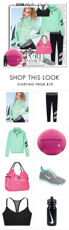 """""""Gym Style"""" by pmcdl ❤ liked on Polyvore featuring Victoria's Secret PINK, Victoria's Secret, NIKE, workout, VictoriasSecret, Leggings, yoga and polyvoreeditorial"""