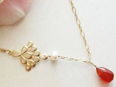 Red Necklace pearl necklace Carnelian necklace 14k gold by AnnTig, $34.95