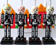 Skeleton Nutcrackers: This is shown as sold out. Pinned it because it's a great idea for this holiday.