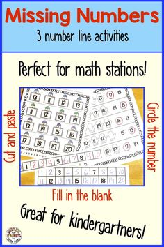 Missing Numbers On A Number Line Worksheets Number Line Activities, Math Activities, Teaching Tips, Teaching Reading, Teaching Math, Learning, Math Stations, Math Centers, Student Numbers