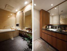 (左)タイル張りのユニットバス(右)洗面化粧台の天板は御影石を使用 ※写真は、サンプルルームを撮影したものであり、実際とは異なる部分がございます。